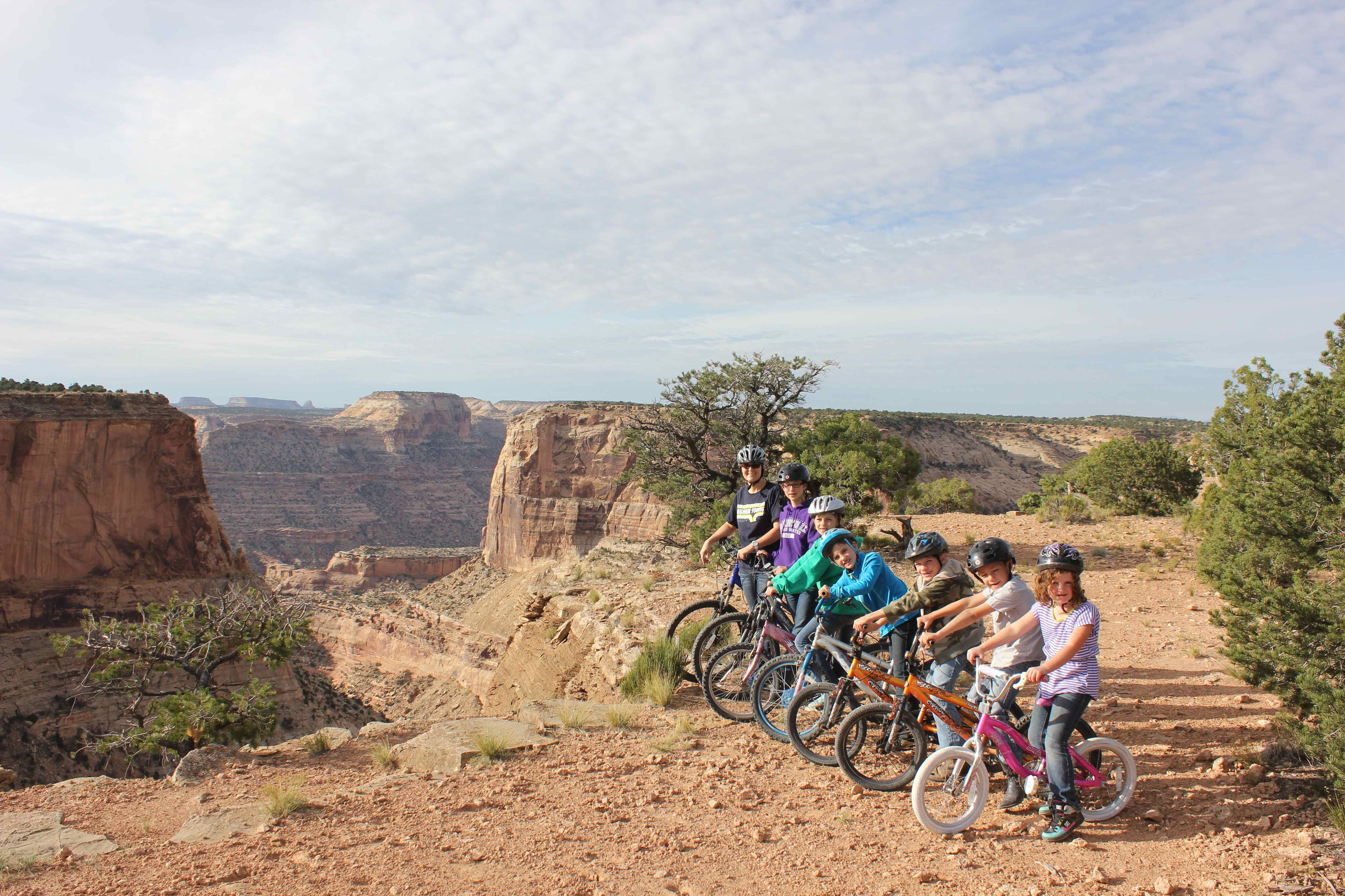 Andrea and the kids riding bikes out on the BLM.